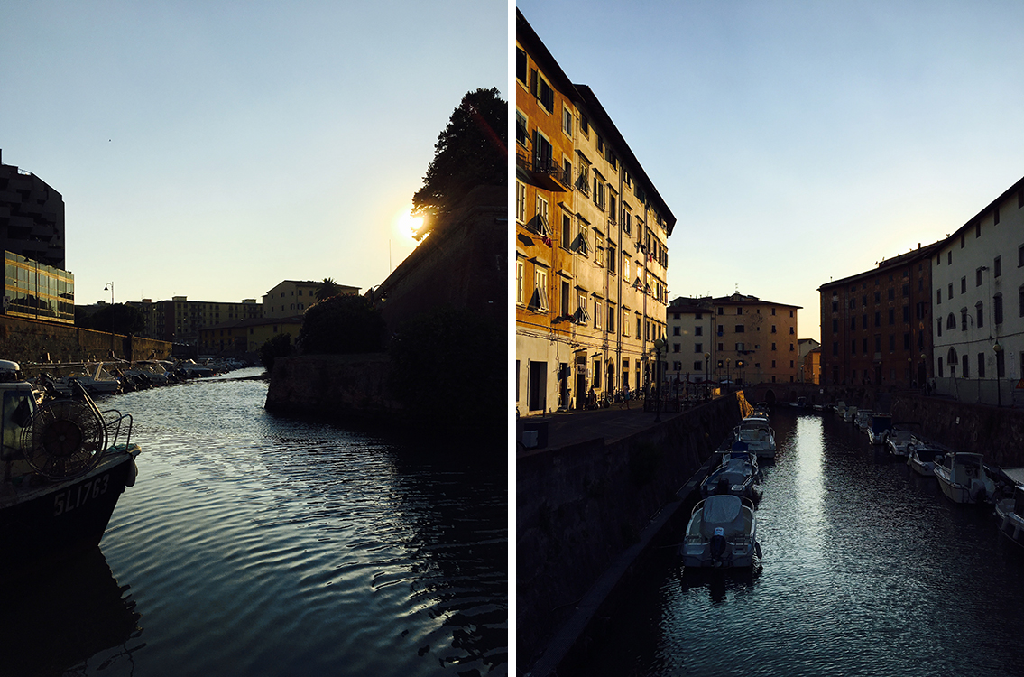 Livorno quartiere Venezia al tramonto