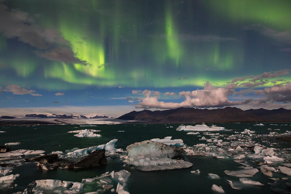 Aurora boreale a Jokulsarlòn